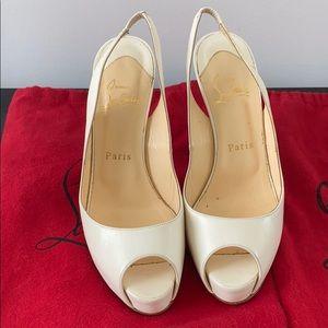 Size 37 white open toe Christian Louboutin pump